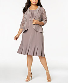 R & M Richards Plus Size Empire-Waist Dress & Sequined Lace Jacket