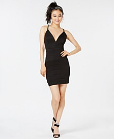Juniors' Lace-Back Scuba Bodycon Dress