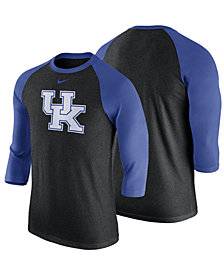 Nike Men's Kentucky Wildcats Triblend Logo Three-Quarter Sleeve Raglan T-Shirt