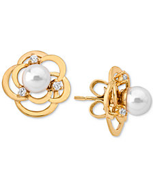 Majorica 18k Gold-Plated Sterling Silver Imitation Pearl & Crystal Earring Jackets