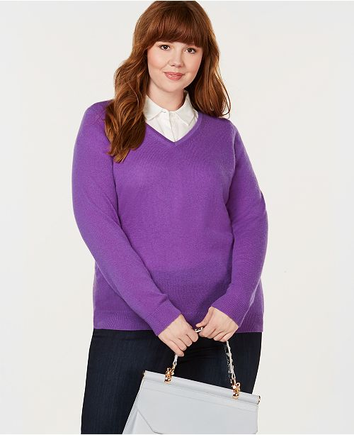 Charter Club Plus Size Pure Cashmere V-Neck Sweater, Created for Macy's