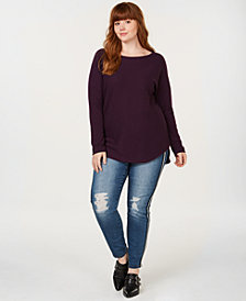 Charter Club Plus Size Pure Cashmere Scoop Neck Sweater, Created for Macy's