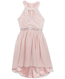 Rare Editions Big Girls Lace Keyhole-Bodice Dress