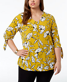 Alfani Plus Size Floral-Print Tie-Sleeve Top, Created for Macy's