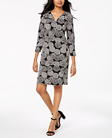 JM Collection Petite Zip-Neck Shift Dress, Created for Macy's