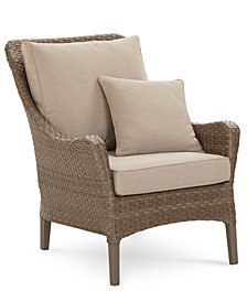 Silver Lake Indoor/Outdoor Flat Rattan Club Chair, with Sunbrella® Cushions, Created for Macy's
