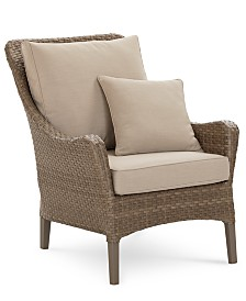 CLOSEOUT! Silver Lake Indoor/Outdoor Flat Rattan Club Chair, with Sunbrella® Cushions, Created for Macy's