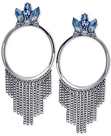 GUESS Silver-Tone Stone & Chain Fringe Drop Hoop Earrings