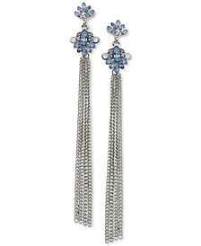GUESS Silver-Tone Stone & Chain Fringe Linear Drop Earrings