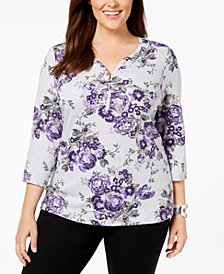 Karen Scott Plus-Size Printed 3/4-Sleeve Henley, Created for Macy's