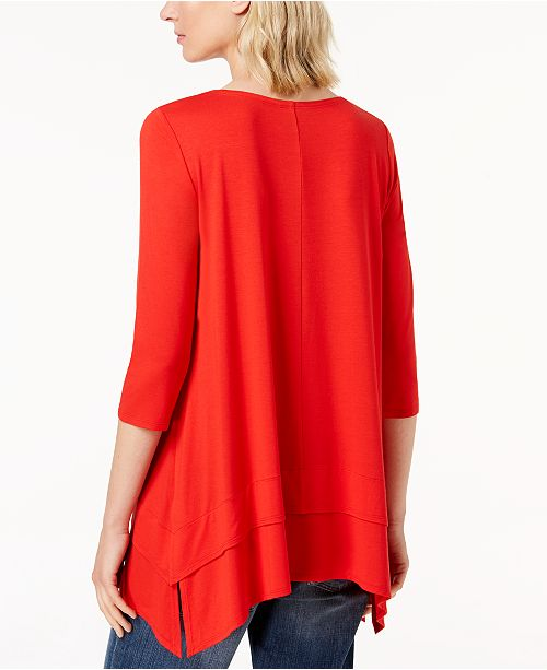 Created Macy's Eileen Sleeve Jersey Stretch Fisher Top Pearl for 4 3 Dark q6Hf0A6w