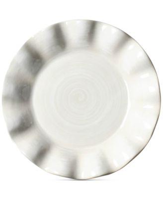 Signature Ruffle Round White  Salad Plate