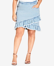 City Chic Trendy Plus Size Ruffled Denim Skirt