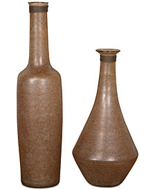 Uttermost Chandi Set of 2 Smoke Glass & Rust Wash Vases