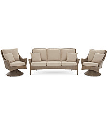 Silver Lake Indoor/Outdoor Flat Rattan 3-Pc. Seating Set (1 Sofa and 2 Swivel Club Chairs) with Sunbrella® Cushions, Created for Macy's