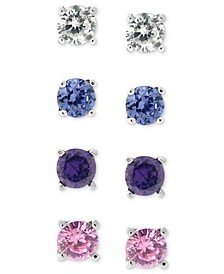 Sterling Silver Earring Set, Multistone Stud Earring Set