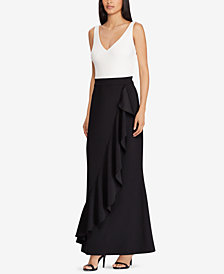 Lauren Ralph Lauren Ruffled Two-Tone Gown