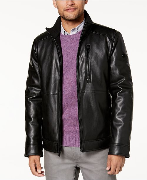 26267c2f7303 Calvin Klein Men s Faux Leather Jacket