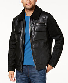Calvin Klein Men's Faux Leather Sherpa Collar Moto Jacket