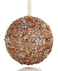 Holiday Lane Gold Glitter Ball Ornament, Created for Macy's