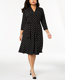 Charter Club Plus Size Dot-Print Fit & Flare Dress, Created for Macy's