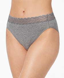 Vanity Fair Flattering Lace Cotton Stretch Hi-Cut Brief 13395