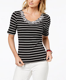 Tommy Hilfiger Cotton Embroidered Top, Created for Macy's