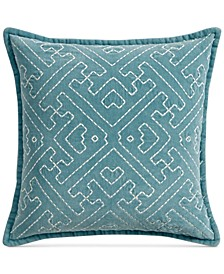 "Sashiko 20"" Square Decorative Pillow, Created for Macy's"
