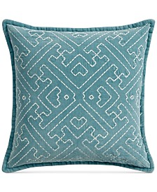 "Lucky Brand Sashiko 20"" Square Decorative Pillow, Created for Macy's"