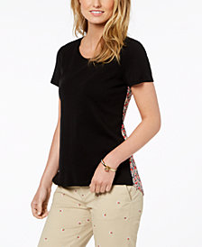 Tommy Hilfiger Mixed-Material Printed-Back Top, Created for Macy's