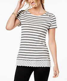 Tommy Hilfiger Cotton Striped Lace Layered-Look Top, Created for Macy's