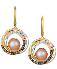 Le Vian® Cultured Freshwater Pink Pearl (10mm) & Diamond (3/8 ct. t.w.) Drop Earrings in 14k Gold, White Gold & Rose Gold