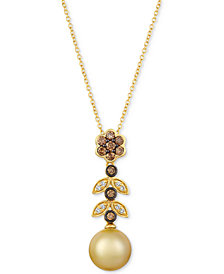 "Le Vian® Cultured Golden South Sea Pearl (9mm) & Diamond (1/3 ct. t.w.) 20"" Pendant Necklace in 14k Gold"