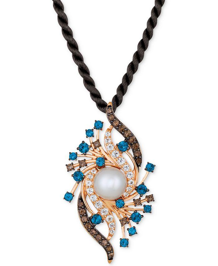 "Le Vian - Vanilla Pearl™ (9mm) & Multi-Gemstone (2-5/8 ct. t.w.) Silk Cord 18"" Pendant Necklace in 14k Rose Gold"