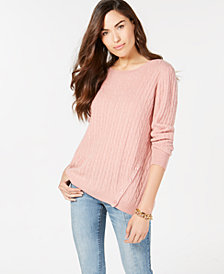 Charter Club Pure Cashmere Cable-Knit Button-Trim Sweater, Created for Macy's