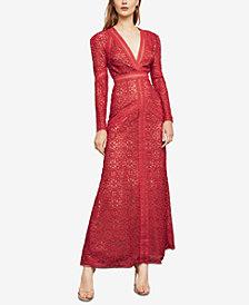 BCBGMAXAZRIA Long-Sleeve Crocheted Lace Maxi Dress