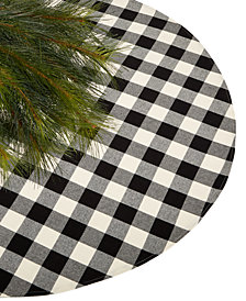 Holiday Lane Black & White Plaid Christmas 48'' Tree Skirt, Created for Macy's