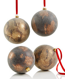 Holiday Lane 4-Pc. Antique-Finish Ball Ornament Set, Created for Macy's
