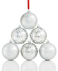 Holiday Lane Shatterproof White & Silver Flower Pattern Ball Ornaments, Set of 6, Created for Macy's