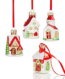 Holiday Lane Mini Glitter Glass House Ornaments, Set of 4, Created for Macy's