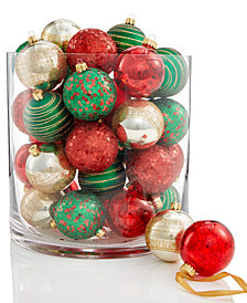 Holiday Lane 30-Pc. Patterned Shatterproof Ball Ornament Set, Created for Macy's