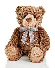 Holiday Lane 2018 Chocolate Brown Sitting Plush Bear, Created for Macy's