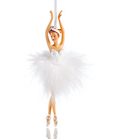 Holiday Lane Ballerina Ornament with Faux Feather Tutu, Created for Macy's