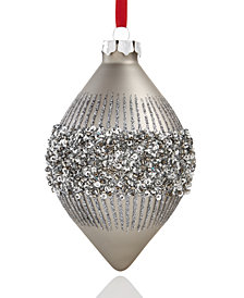 Holiday Lane Dark Silver Glitter Drop Ornament, Created for Macy's
