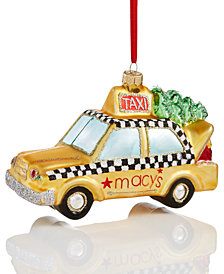 Holiday Lane Macy's Gold Glass Taxi with Tree on Top Ornament, Created for Macy's