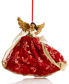 Holiday Lane Flying Angel Playing The Flute Burgundy/Gold Hanging Christmas Tree Ornament, Created for Macy's