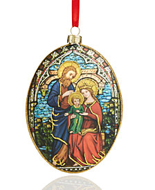 Holiday Lane Holy Family Blue/Red Oval Disk Ornament, Created for Macy's
