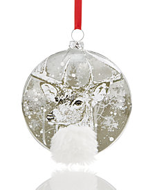Holiday Lane ''2018'' Silver-Tone Disc with Reindeer & Snow Pattern Christmas Ornament, Created for Macy's