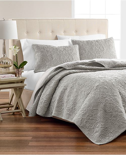 Martha Stewart Collection CLOSEOUT! Silver Velvet Flourish Quilt & Sham Collection, Created for Macy's