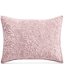 Martha Stewart Collection Pink Rose Velvet Flourish Quilted Standard Sham, Created for Macy's